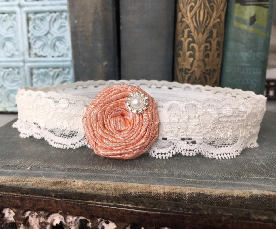 Wedding - Lace Wedding Garter, Peach Flower Garter, Lace Bridal Garter with Peach Silk Rose & Pearl Detail - Ivory, White, or Off-White Lace