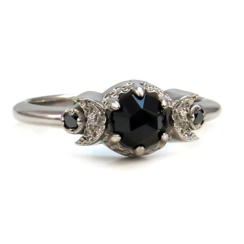 fine signet rings products engagement new diamond black ring marrow gold moon