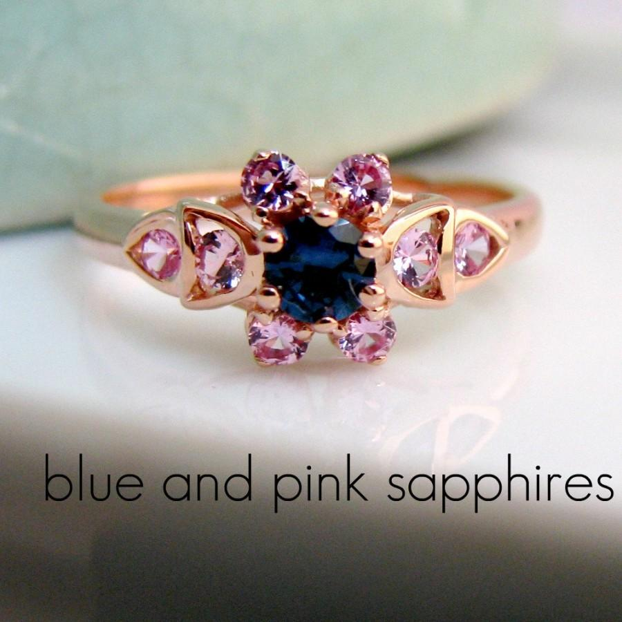 زفاف - Sapphire Ring - Blue and Pink Sapphires - 18K Rose Gold Plated 925 Sterling Silver - Wedding Engagement Ring - Customized Options Available