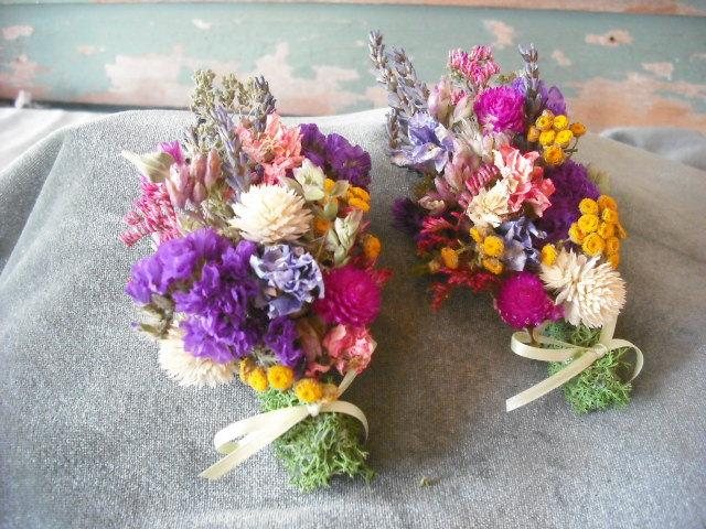 Свадьба - All Natural dried flower corsage in a potpourri of colors. Wrist or pin on. Featuring Lavender. For your garden wedding.