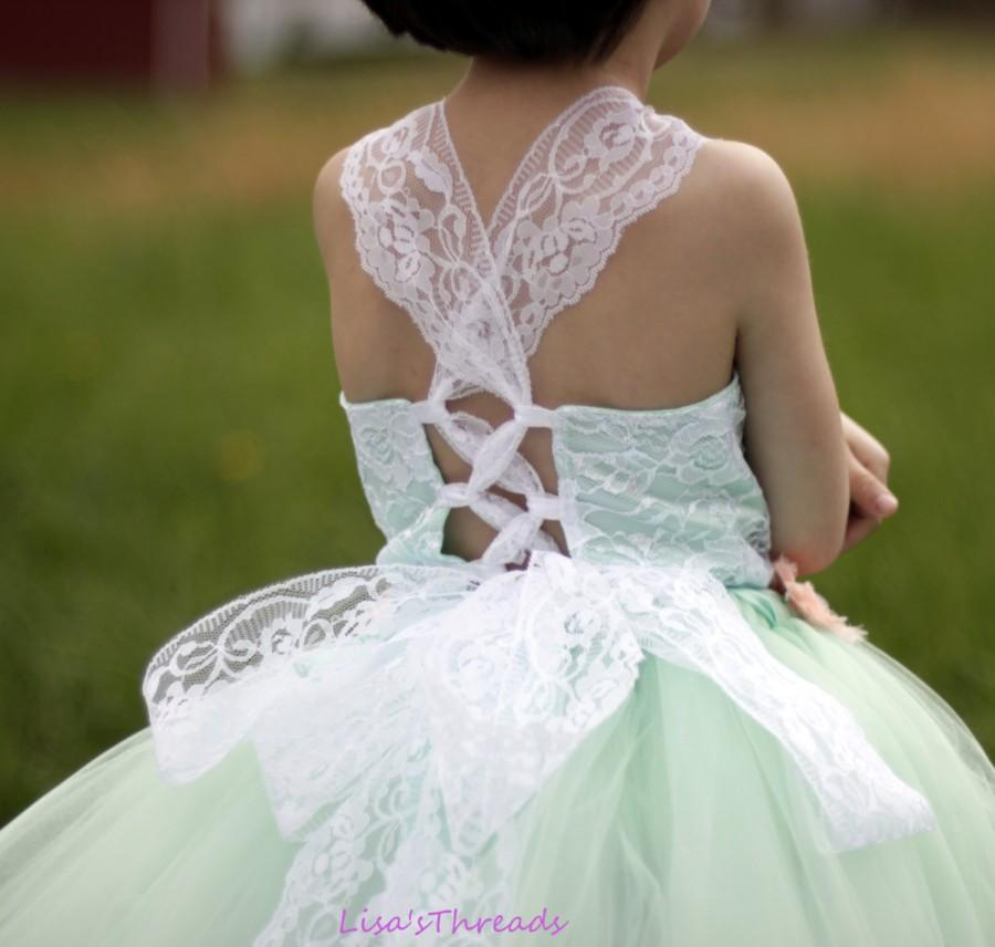 زفاف - Mint lace corset top flower girl dress/ Wedding flower girl dress/ Flower girl lace dress