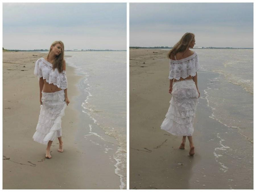 Свадьба - White Bridal lacy/ maxi rustic Skirt/Endladesign/Handmade/boho/shabby chic/cottage chic,western chic,country western