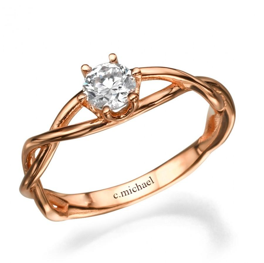 زفاف - Infinity Ring, Engagement Ring, Wedding Ring, Art Deco Ring, Infinity Band, Engagement Band, 14k Ring, Red, Pink Gold RIng, Bridal Jewelry