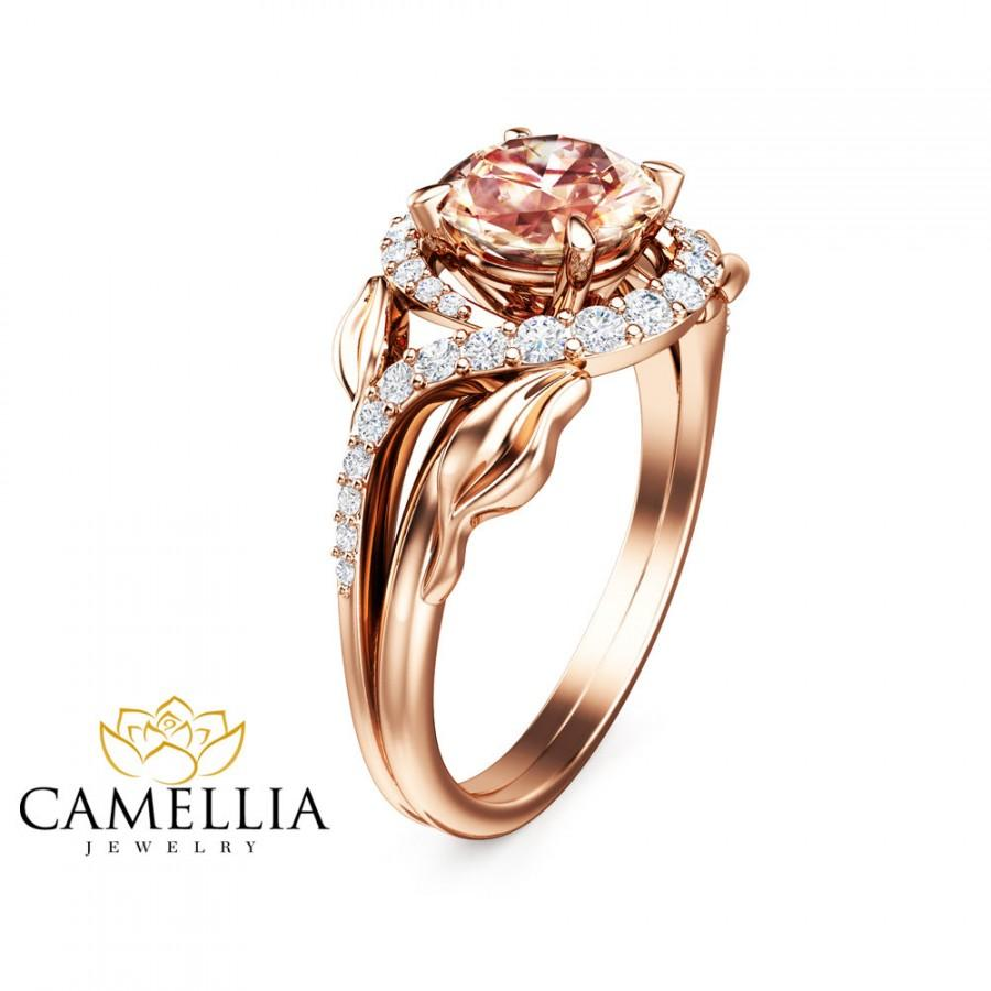 14K Rose Gold Morganite Engagement Ring Unique Leaf Design Ring Peach Pink Mo