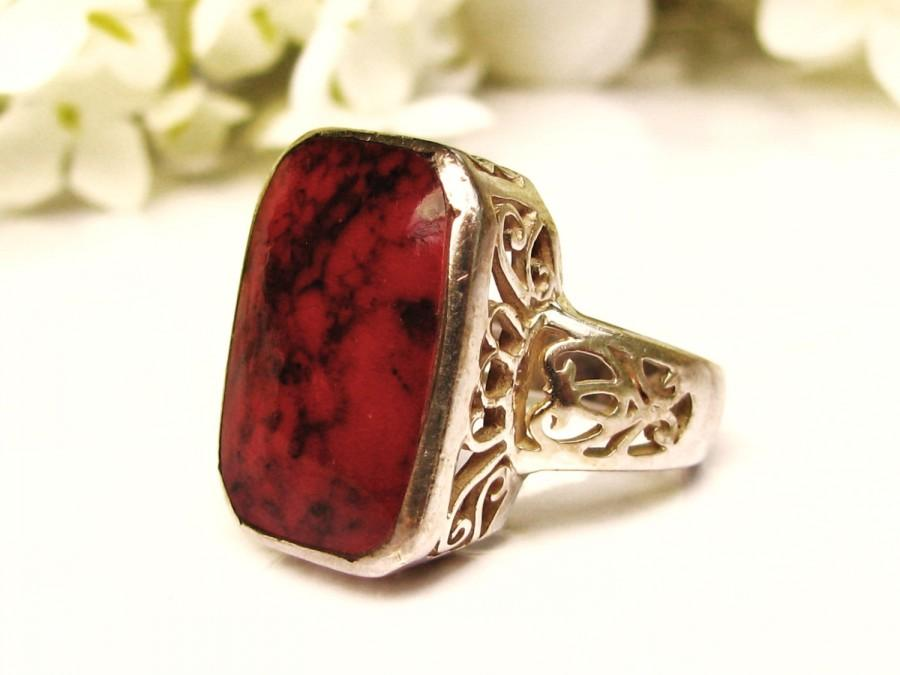 زفاف - Art Deco Style Red Jasper Silver Filigree Ring Vintage Sterling Silver Jewelry Size 5.5!