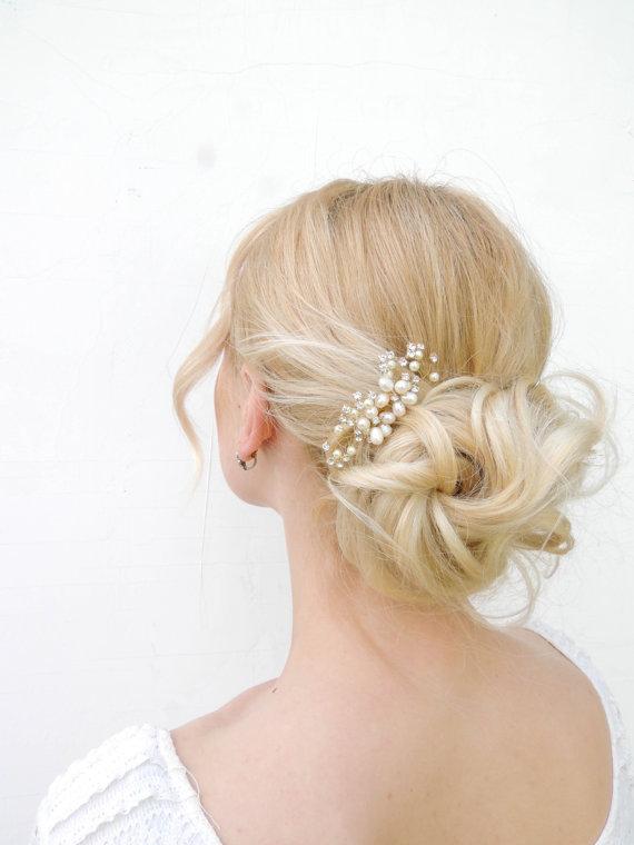 Свадьба - Freshwater pearls, bridal hair, Crystal headpiece, Wedding hair comb, bridal hair accessories, Bridal Jewelry