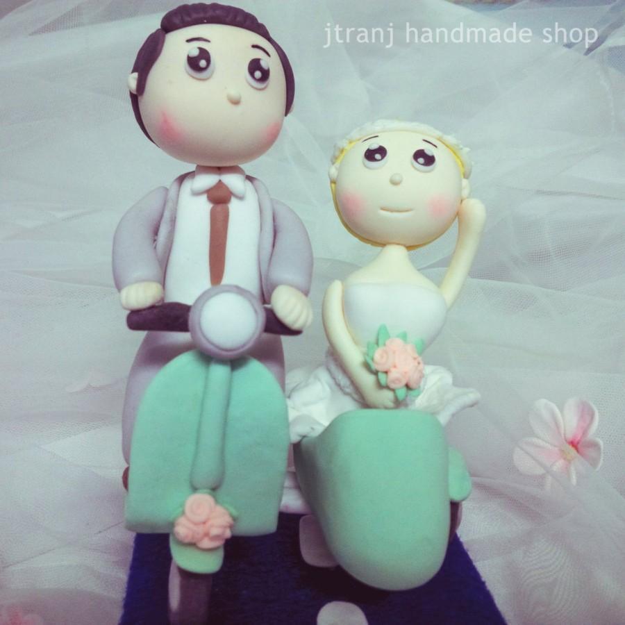 Mariage - Wedding Cake Topper Clay Doll, Clay Figurine Decor, clay miniature wedding gift