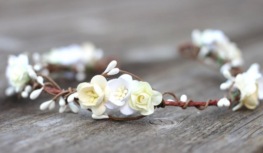 Ivory White Cream Flower Crown Headpiece Flower Crown Girls Hair Wreath  Wedding Flower Crown Rustic Wedding Accessories White Flower Crown a98bfcbe4e6