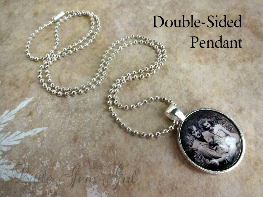 Mariage - Double Sided Custom Photo Necklace or Keychain - In Memory Custom Picture Charm - Photo Charm - Heaven Poem on Back
