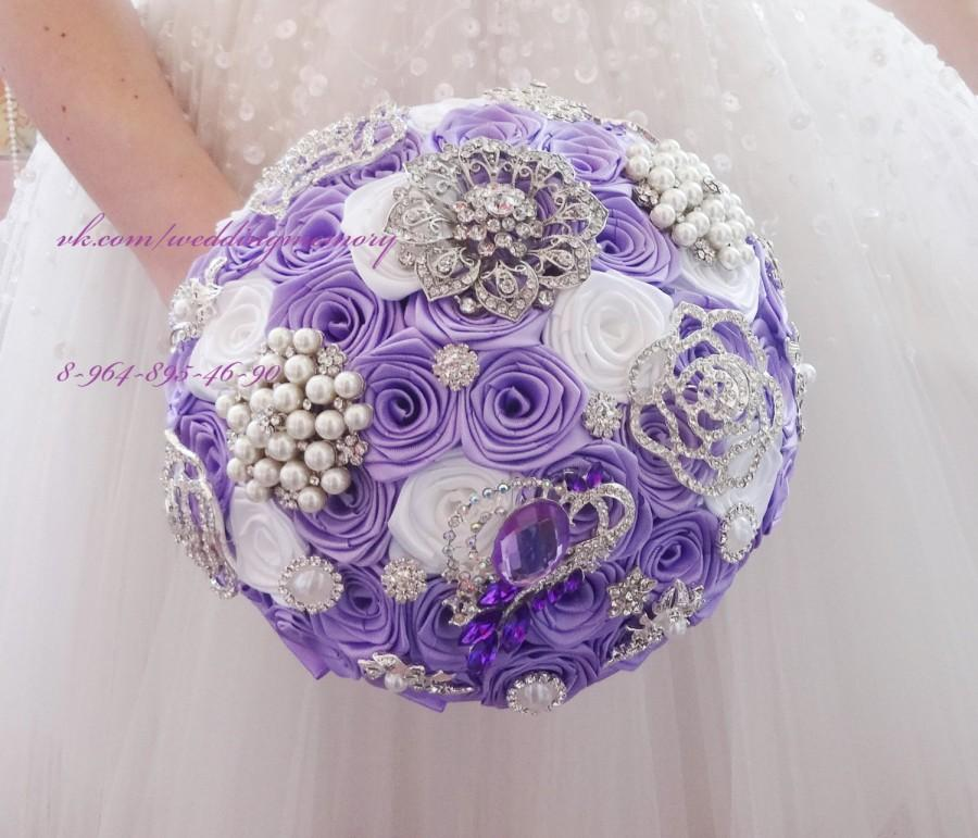 Mariage - BROOCH BOUQUET in lavender and white colors, jewled with silver brooches, can be used for bride or bridesmaids. Custom colors