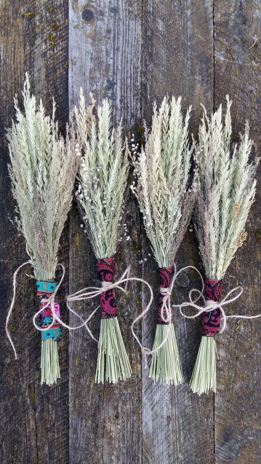 Boho Rustic Bouquet Dried Flowers Grasses Bunch Natural