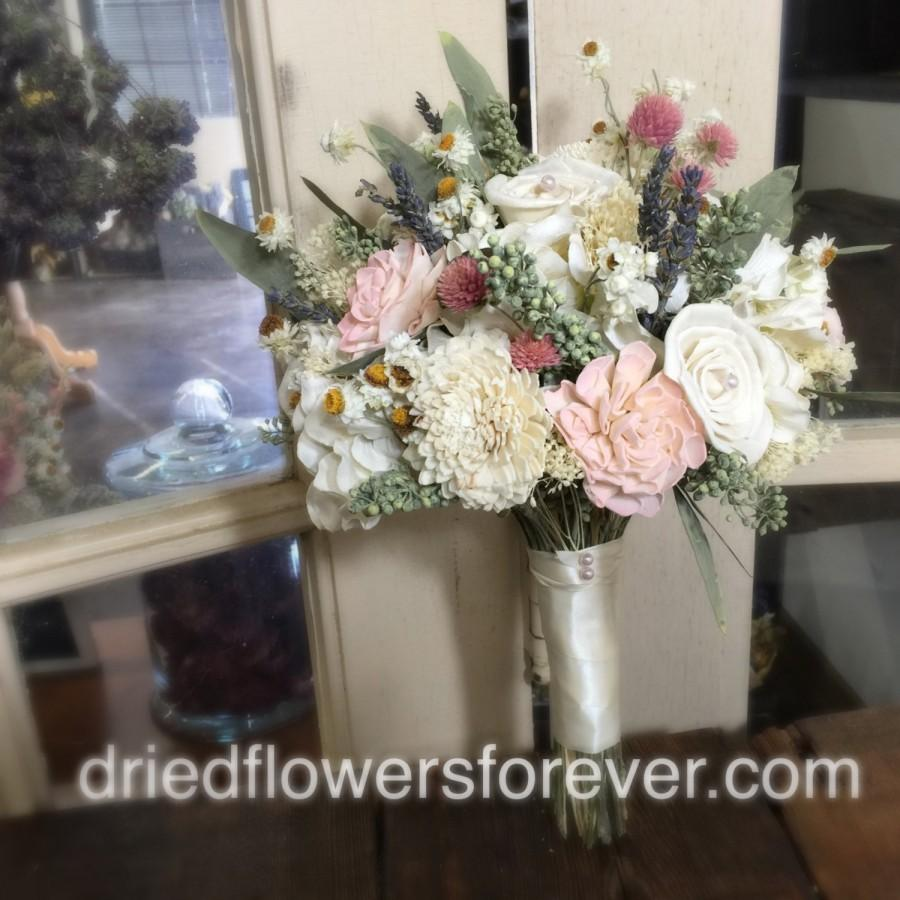 Dried Flower Wedding Bouquet Pink Cream Blush Moss Green Sola