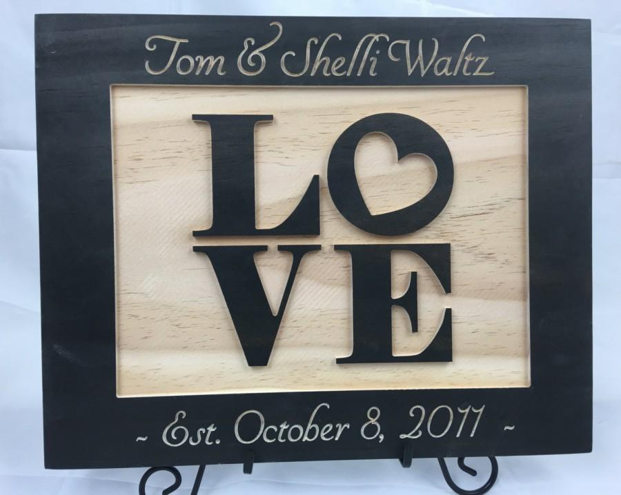 Mariage - Wedding Sign, Couple Name Sign, Wedding Gift for Couple, Wedding present, Established sign, Gift for Wedding,  Name Date Sign, Landscape