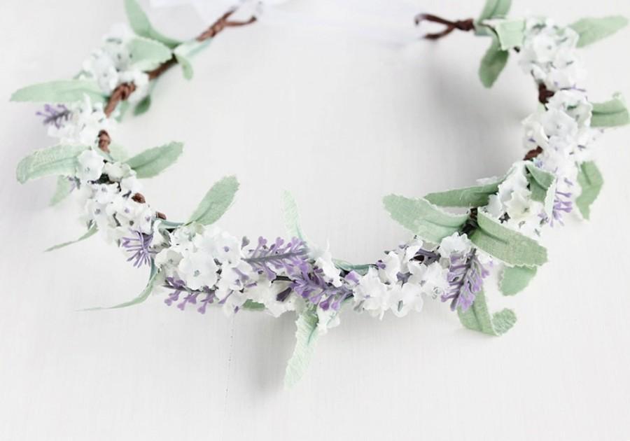 Mariage - Floral Crown, Lilac White Bridal Halo, Flower Girl Crown, Wedding Flower Crown, Spring Woodland Halo, Boho Crown, Hair Garland, Rustic Crown
