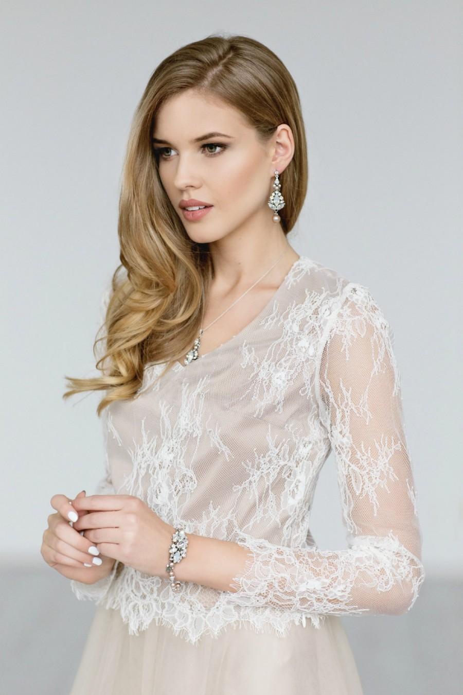 Mariage - Wedding Top, Ivory Long Sleeves Lace Bridal Top , Bridal Lace Blouse,  Ivory Champagne Bridal Lace Top, Bridal Separates - SAMANTA