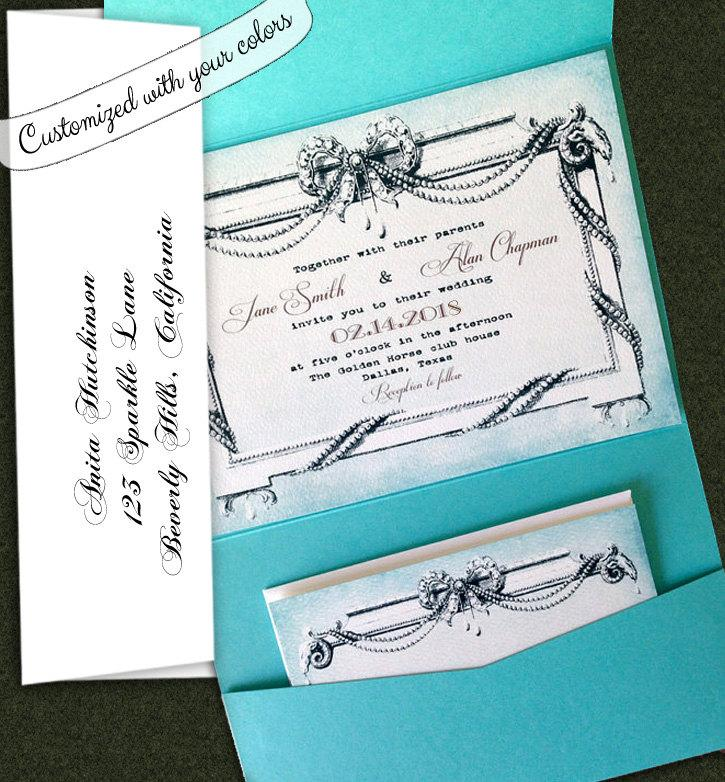 elegant wedding invitation vintage style wedding invitation royal wedding invitations vintage pearls wedding invitations customized