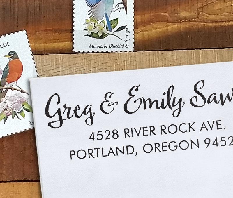 Mariage - Custom Address Stamp - Calligraphy Stamp Eco Mount - wedding stamp - housewarming gift - Sawyer 2
