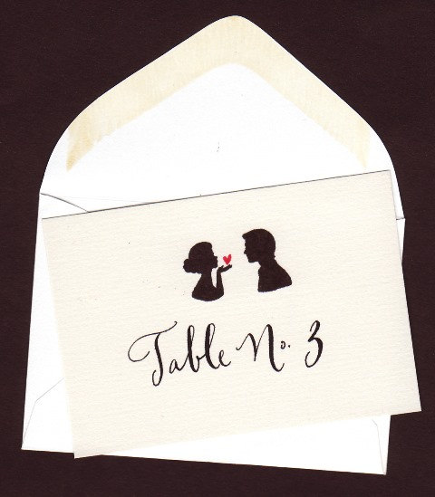 زفاف - Escort Envelopes, Place card with Bride and Groom Silhouette and Calligraphy