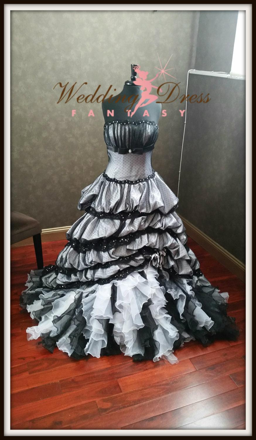 Wedding - Stunning Victorian Gothic Wedding Dress in Black and White Strapless with Ruffles