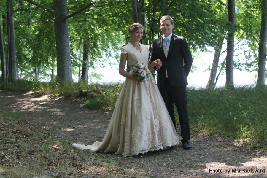 Wedding - Champagne Country Wedding Dress with Cap Sleeves Vintage Inspired
