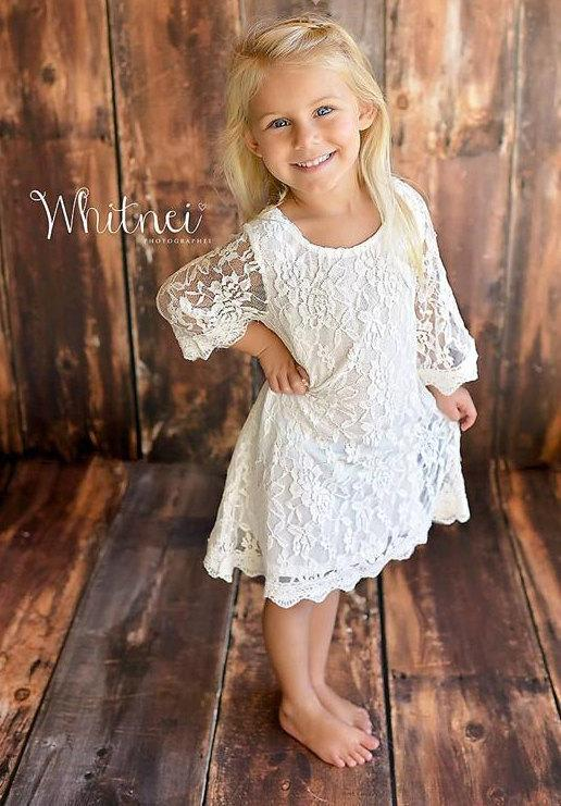 Mariage - The Simply Grace White Lace Flower Girl Dress