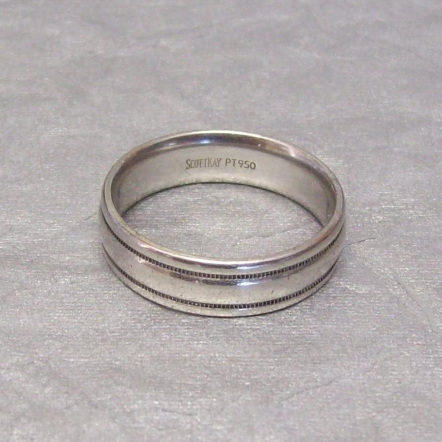 زفاف - Vintage men's platinum wedding band ring. Size 9 3/4. Comfort fit.  Designed by Scott Kay. Satisfaction guaranteed. Free shipping.
