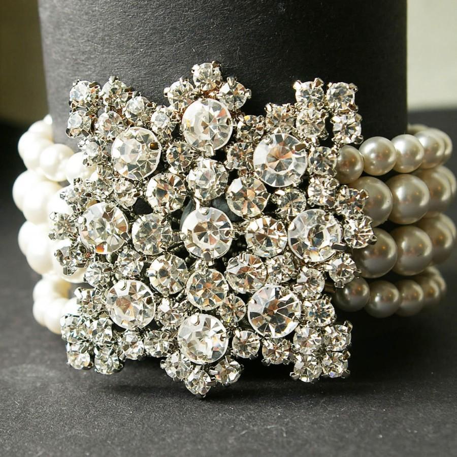 Art Deco Style Bridal Pearl Bracelet Cuff, Rhinestone Wedding Bridal ...