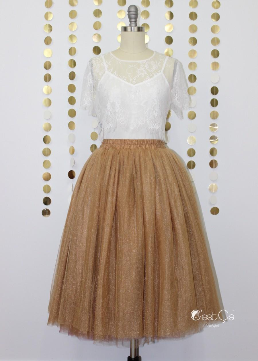 Wedding - Diane Metallic Bronze Tulle Skirt - Below Knee Midi