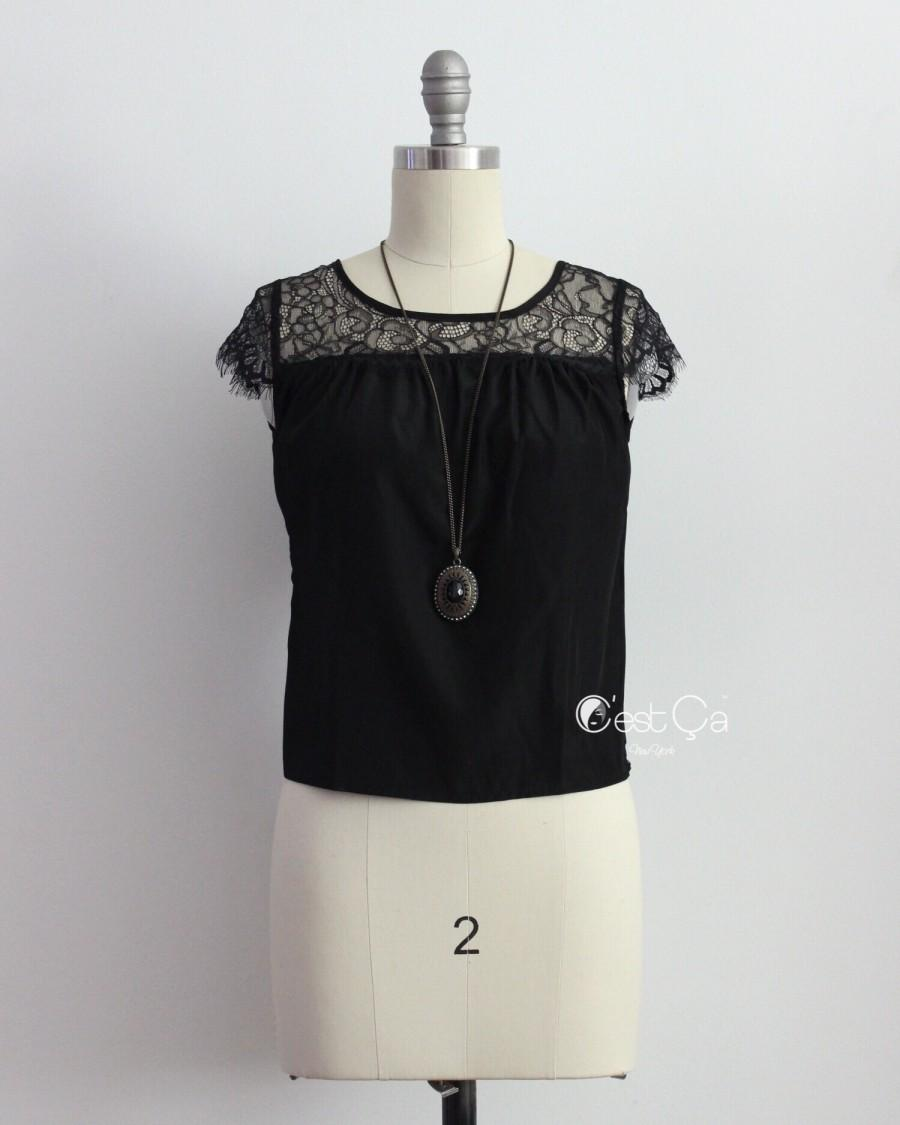 Boda - Berta Black Lace Cap Sleeve Top - C'est Ça New York