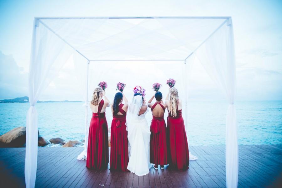 Mariage - Bellport Crimson - Silky Satin Jersey~ No Train- Octopus Convertible Infinity Wrap Dress