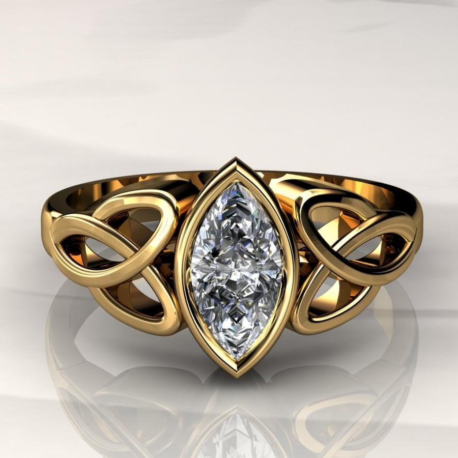 8x4mm Marquise Forever Brilliant Moissanite Celtic Engagement Ring