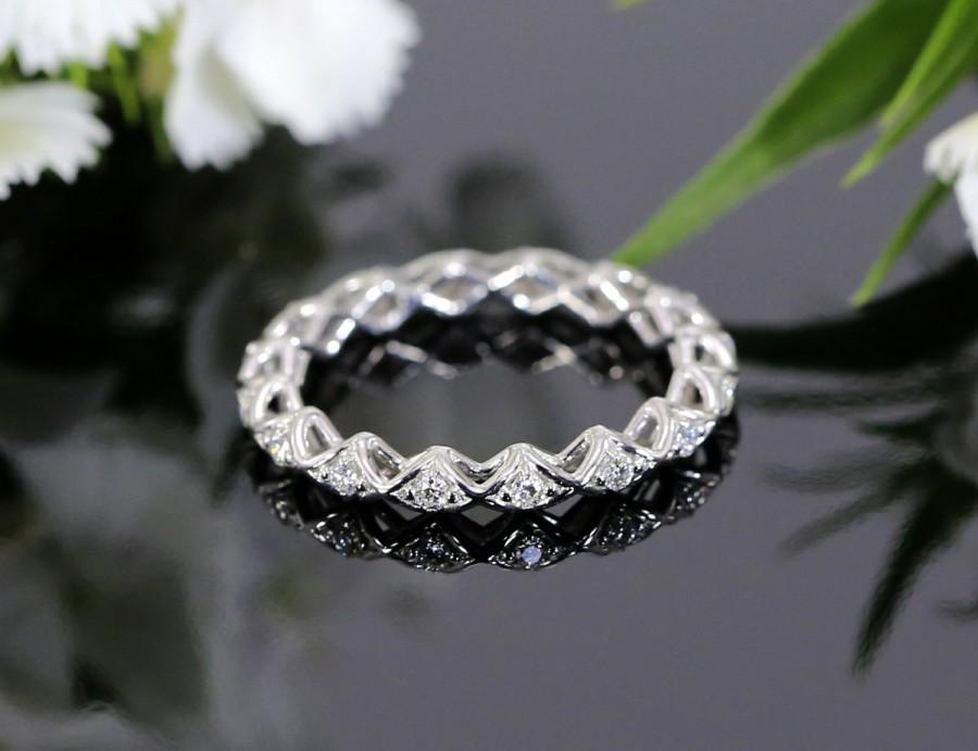 Unique White Gold Diamond Eternity Wedding Band Stackable Band