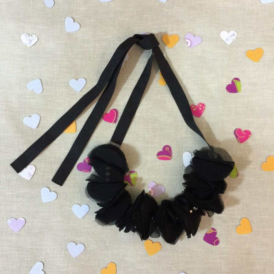 Свадьба - Black Floral Statement Necklace - C'est Ça New York