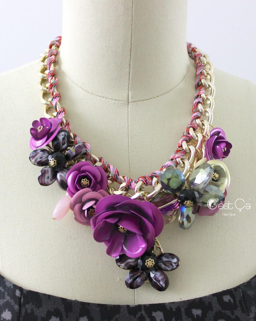 Wedding - Lilac Floral Statement Necklace - C'est Ça New York