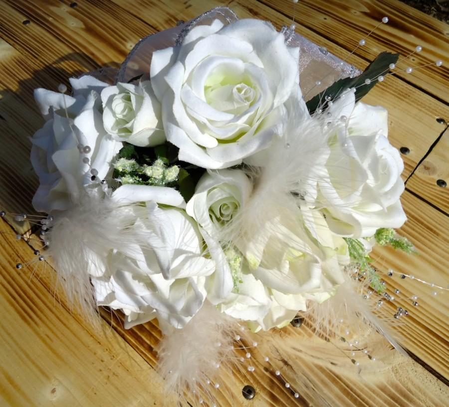 """Mariage - Silk Floral Bridal Bouquet  - """"Wedded Bliss"""", Real-Touch Roses, White, Wedding, Feathers, Pearls, Crystals, Rhinestones, Silk Bridal Flowers"""
