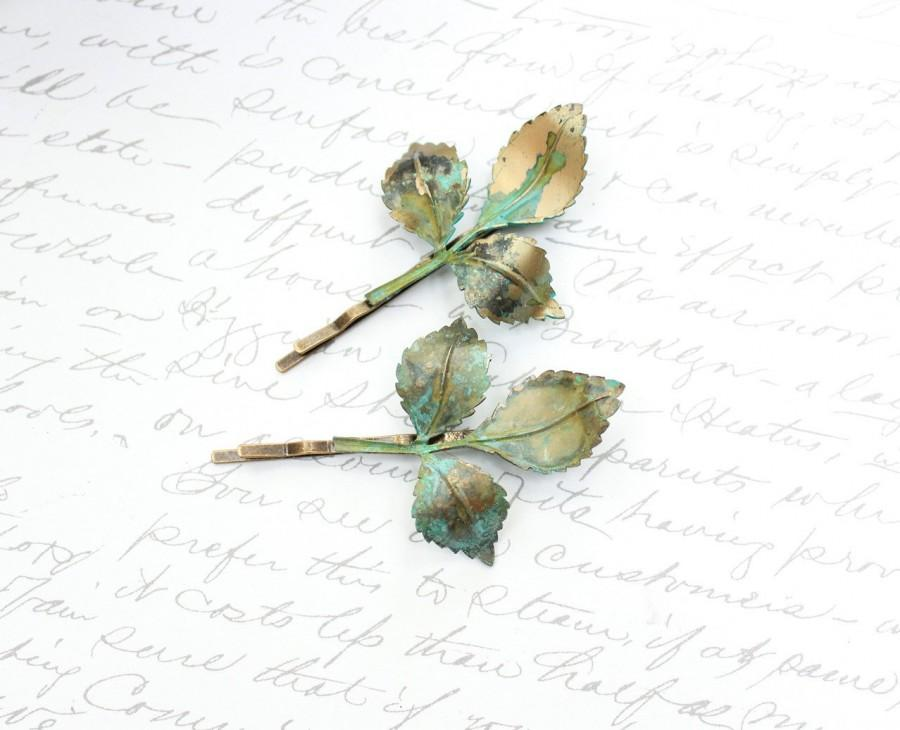 Branch Bobby Pins Leaves Leaf Hair Clips Patina Verdigris Green ...