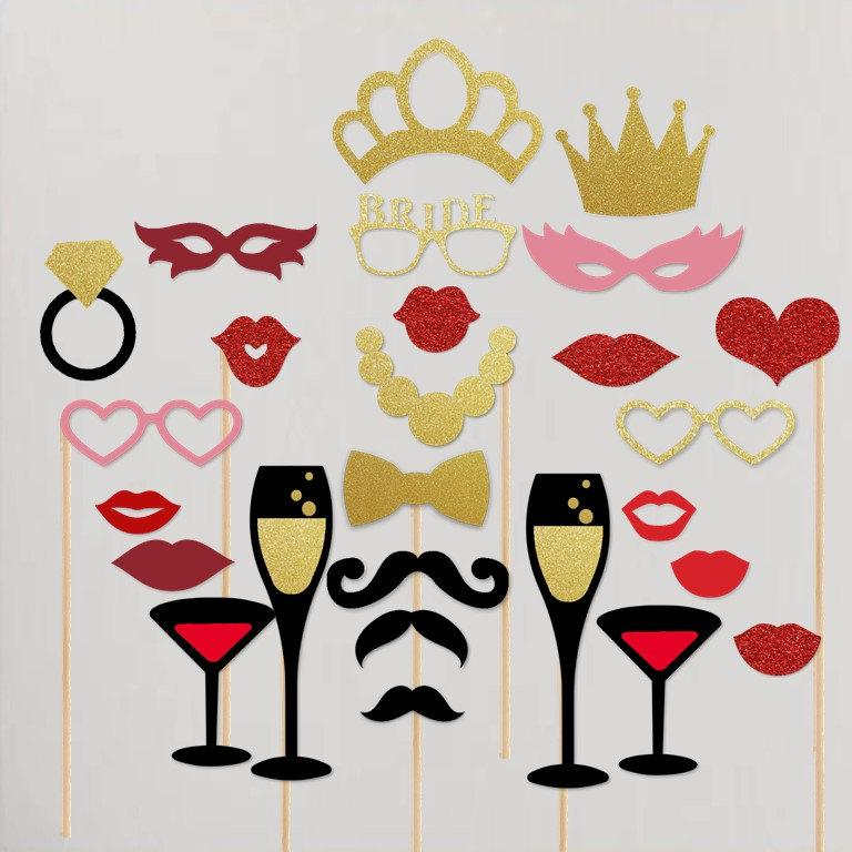 Свадьба - Bachelorette Party Photobooth Props Wedding Shower Hen Party Photo Booth Kit Set of 25+1 Bonus Piece Gold and Red Collection