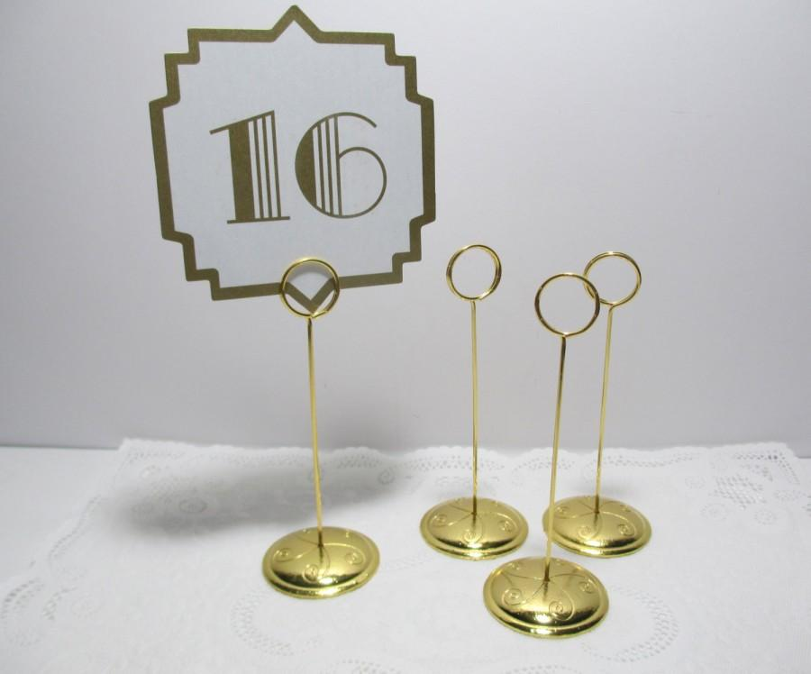 GOLD Ring Style Table Number Stand, Card Holder. Gold Wedding Table Stands  - Sign Stand, Card Holder, 5
