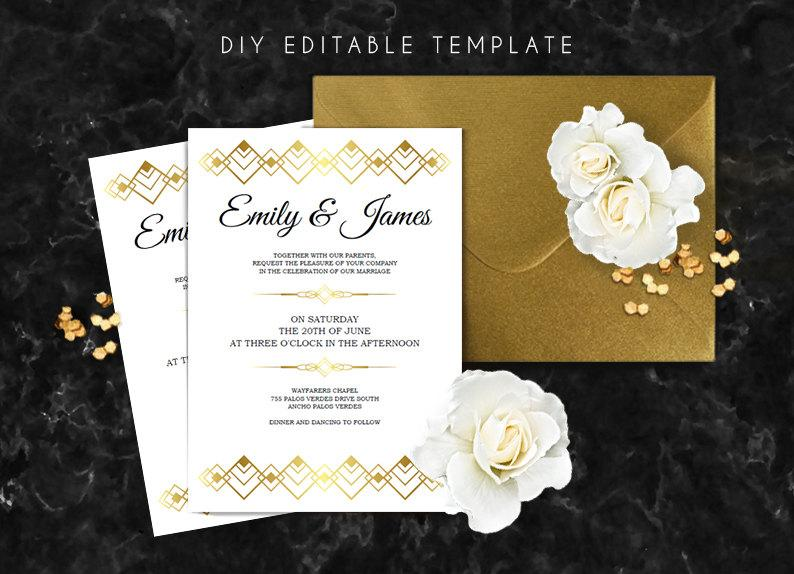 Editable Wedding Invitation Template Great Gatsby Wedding Invitation DIY Pr