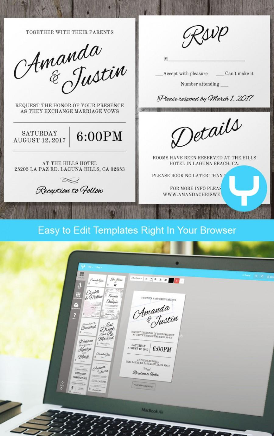 Hochzeit - Instant Download Printable Wedding Invitation + RSVP Template - Clean & Cursive - You Change Color and Text and Print