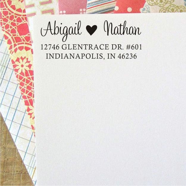 Mariage - Custom Address Stamp - Heart Address Stamp - Return Address Stamp - Self Inking (026)