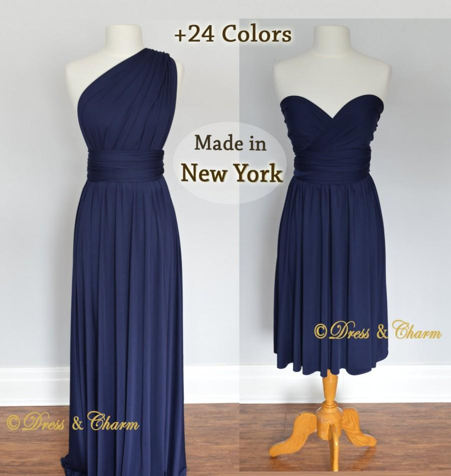 Mariage - Navy Bridesmaid dress, infinity dress, convertible dress, party dress, prom dress, multiway dress, convertible bridesmaid dress, women dress