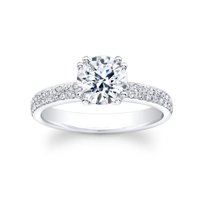Hochzeit - Ladies 18kt white gold pave diamond engagement ring with 0.35 carats G-VS2 diamond quality and 1.50ct Round White Sapphire Ctr