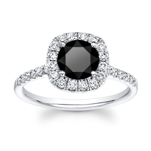 Mariage - Ladies 14kt white gold cushion top 1ct Round Brilliant Black diamond engagement ring 0.40 ctw G-VS2 quality diamonds