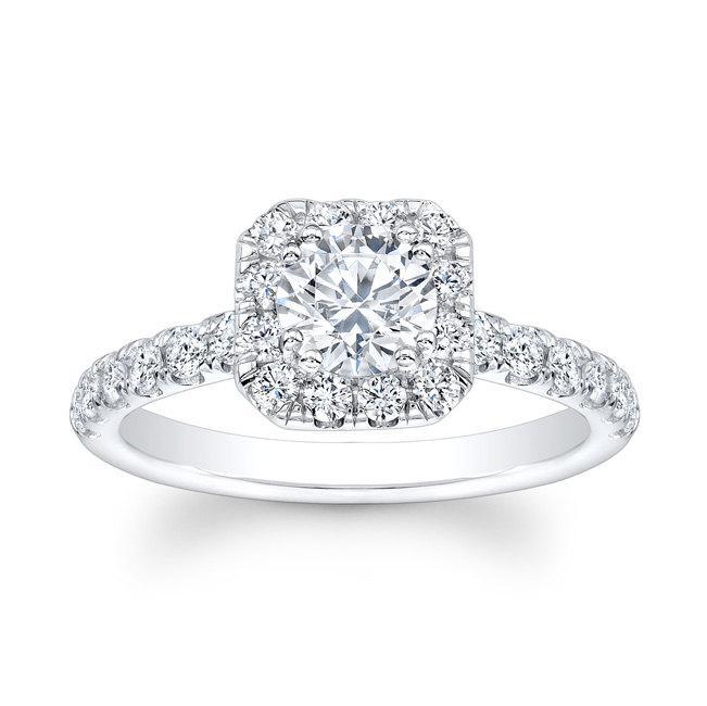 Wedding - Ladies 14kt white gold shared-prong diamond cushion halo engagement ring 0.60 carats G-VS2 diamonds w/1.50ct Round shape White Sapphire Ctr