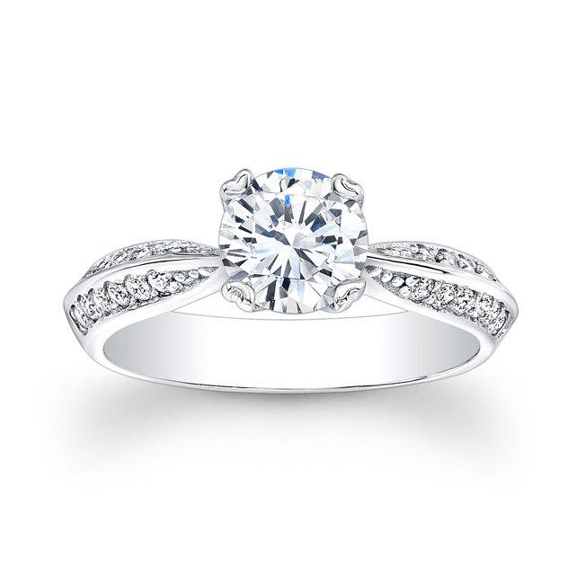 Wedding - Ladies 18kt antique diamond engagement ring with 0.25 carats G-VS2 diamond and 1ct Round White Sapphire