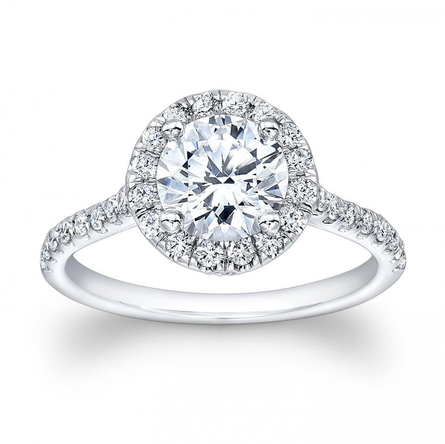 Mariage - Ladies platinum art-deco engagement ring with 0.40 ctw diamonds and natural 1ct Round Brilliant White Sapphire Center
