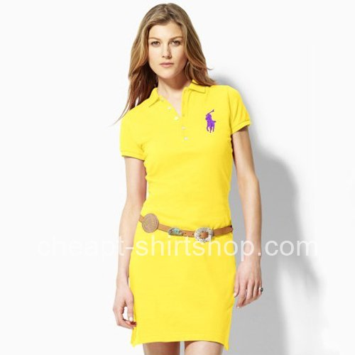 Wedding - Ralph Lauren Big Pony Yellow Cotton Slim Polo Dress