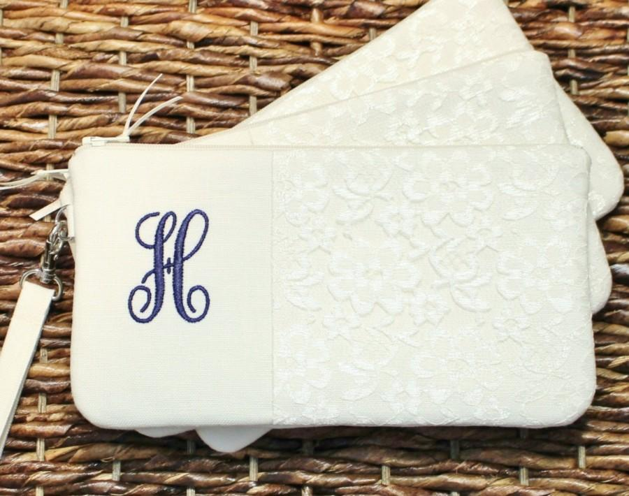 Personalized Linen And Lace Clutch Wristlet Bridesmaid Natural Ivory White Grey