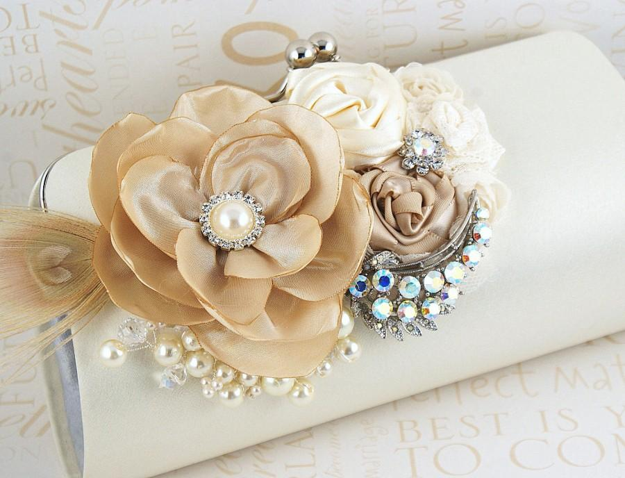 Wedding Clutch Handbag Mother Of The Bride Purse Ivory Tan Beige Champagne Cream Brooch Crystals Feathers Pearls Elegant